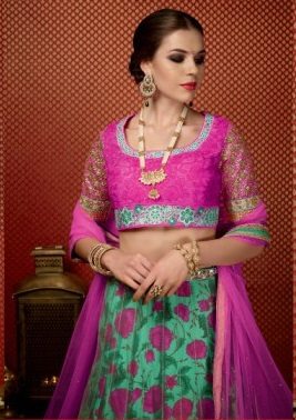 Pink & Green Pure Georgette Embroidered Lehengas Suit with heavy work