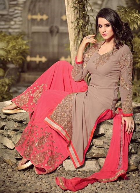 Orange & Grey neck Georgette Embroidered Salwar Suit