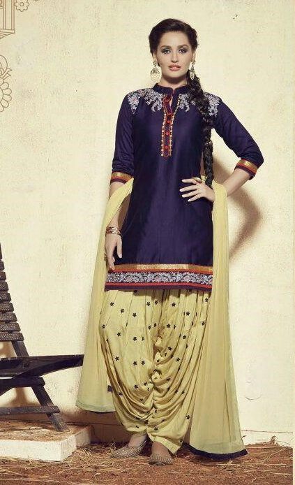 1c88a50f6 Buy Navy Blue and Golden Pure Shantoon Embroidered Salwar Suit ...