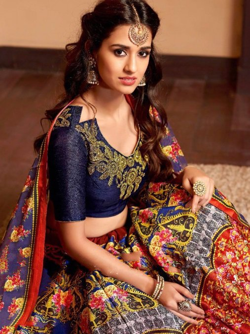 Navy Blue Embroidered Lehengas with banglori silk