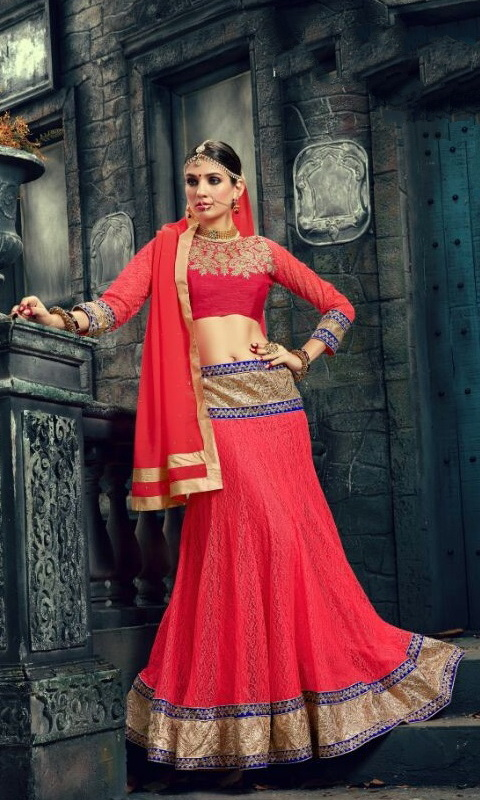Red Embroidered Lehengas Choli