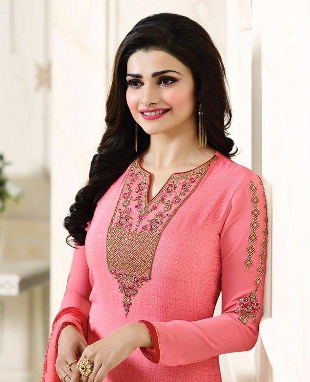 Orange neck Embroidered Salwar Suit