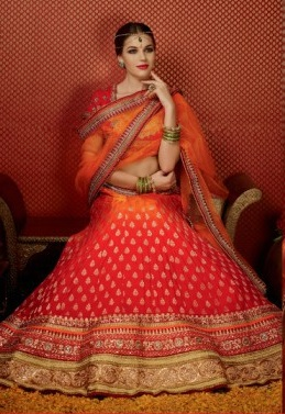 Orange Pure Georgette Embroidered Lehengas Suit with heavy work