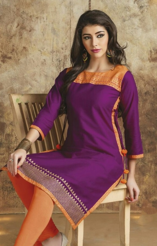 Parpule & Orange neck Cotton Embroidered Salwar Suit