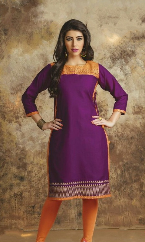 Parpule & Orange Cotton Embroidered Salwar Suit