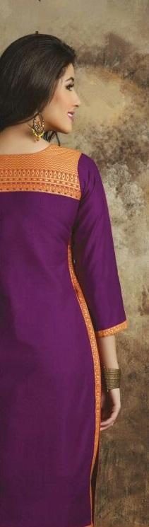 Parpule & Orange back side Cotton Embroidered Salwar Suit