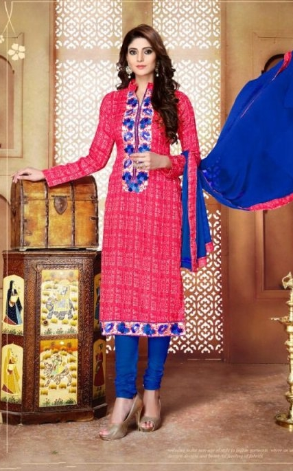 Pink and Blue Glace Cotton Embroidered Salwar Suit