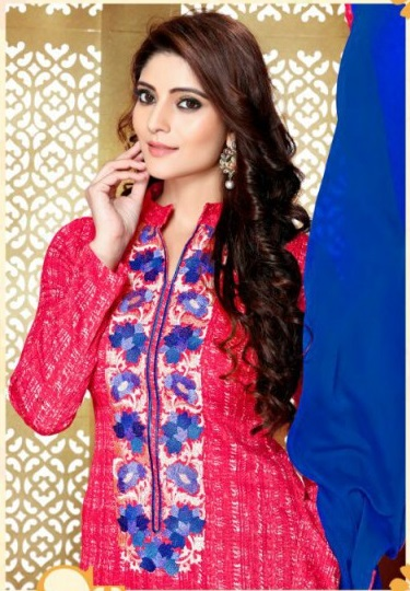 Pink and Blue Glace Cotton Embroidered Salwar Suit with nazneen dupatta