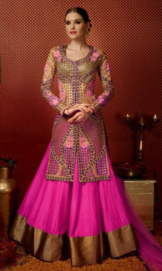 Pink & Brown Pure Georgette Embroidered Lehengas Suit