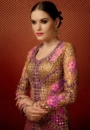 pink brown front embroided lehengas suit
