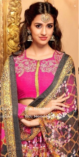 Pink Embroidered Lehengas with front side
