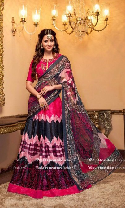 Pink Embroidered Lehengas