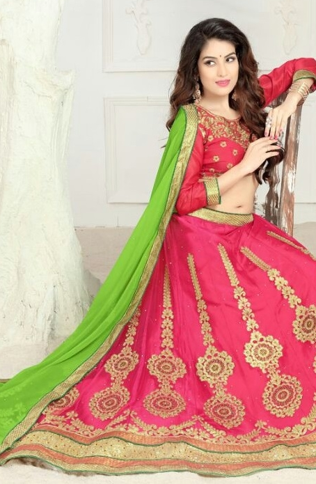 Pink and Green Embroidered Lehengas Choli