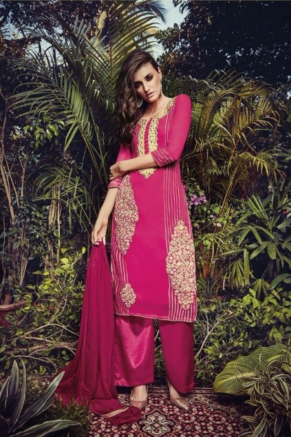 Magenta Georgette Embroidered Party Wear Salwar Suit