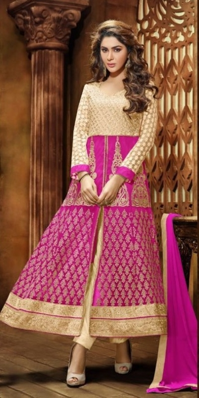 Pink & Golden Sentoon Embroidered Lehengas with heavy work