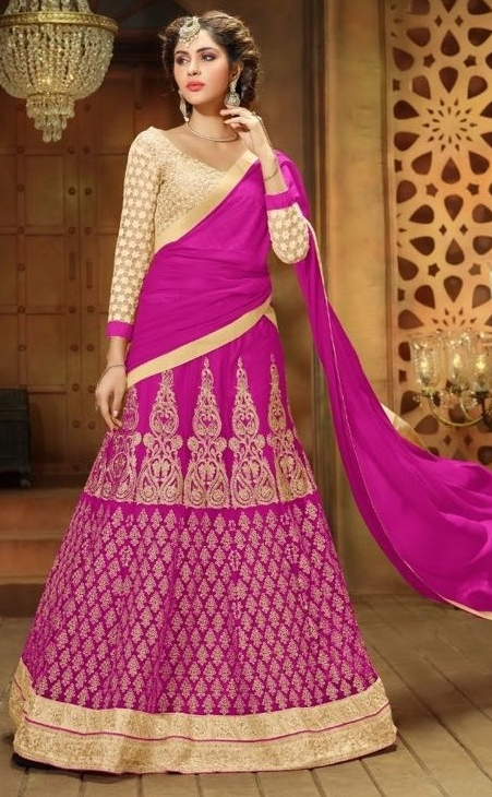 Pink & Golden Sentoon Embroidered Lehengas
