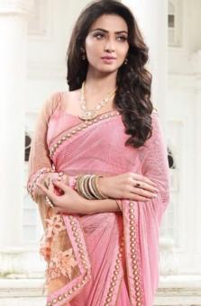pink golden embroided sarees