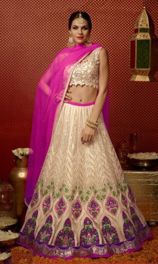 Pink & Golden Pure Georgette Embroidered Lehengas Suit