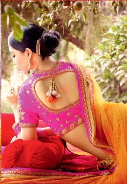 Yellow & Pink Pure Georgette back side Embroidered Lehengas Suit