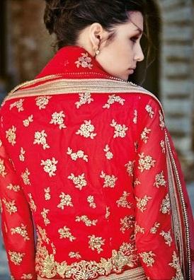 Red & Golden Sentoon back side Embroidered Lehengas Choli