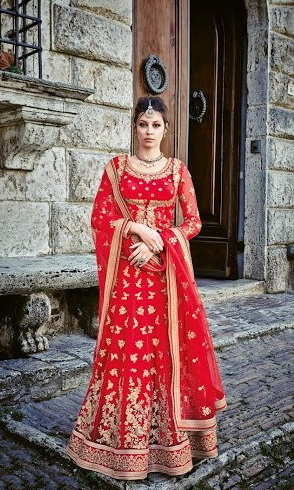 Red & Golden Sentoon Embroidered Lehengas Choli