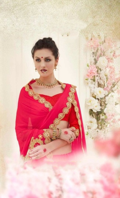 Red & Pink Designer nick Embroidered Sarees