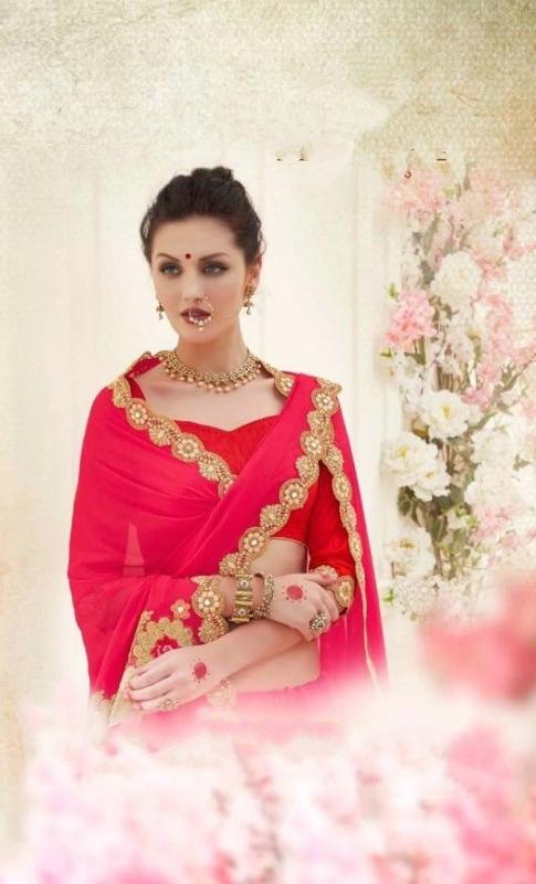 Red & Pink Designer nick Embroidered Sarees