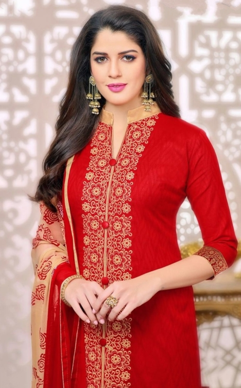 Red & Creem Cotton Jacquard front Embroidered Salwar Suit