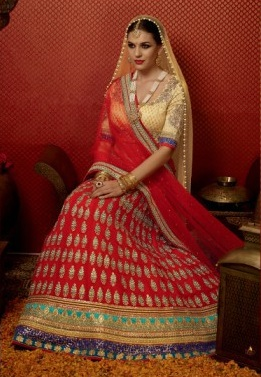 Red & Golden Pure Georgette Embroidered Lehengas Suit with heavy work