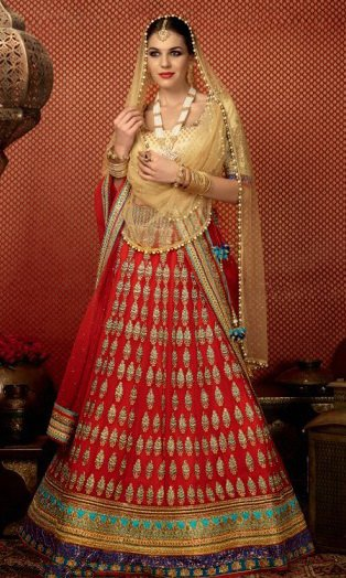 Red & Golden Pure Georgette Embroidered Lehengas Suit