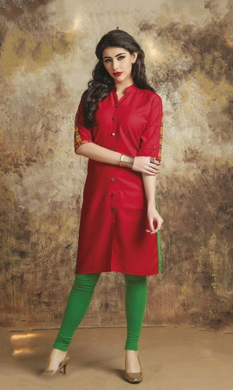 Red & Green  Cotton Embroidered Salwar Suit