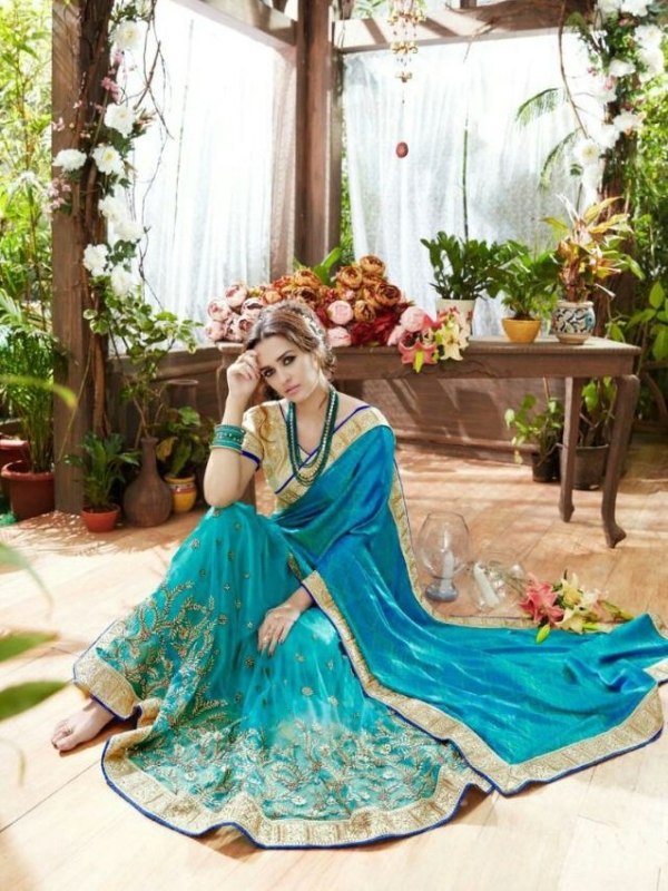 Skyblue and Golden Pure Georegette Embroidered Sarees with heavy work