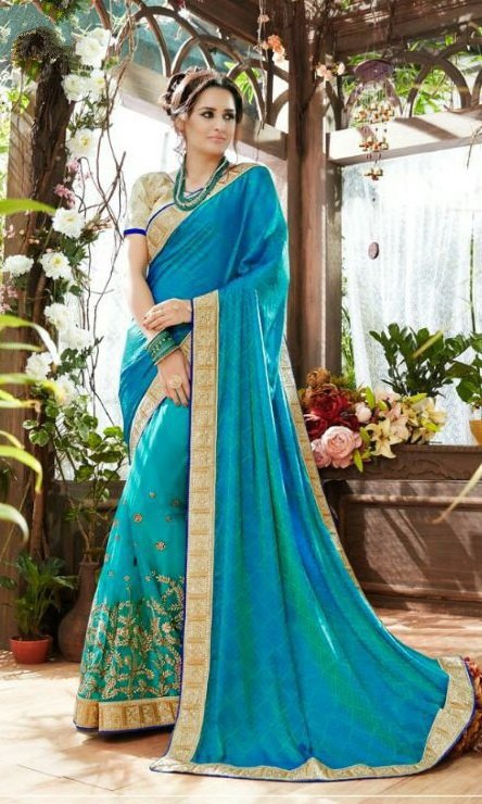Skyblue and Golden Pure Georegette Embroidered Sarees