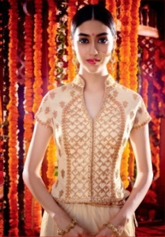 white pink frontembroided lehengas suit