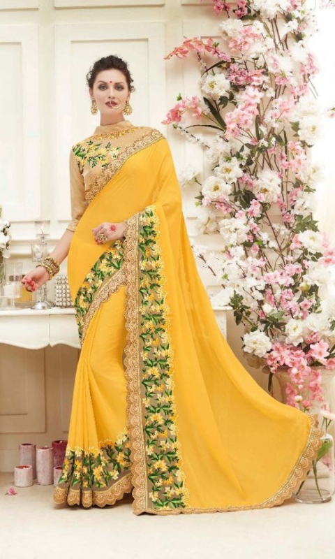Yellow & Golden Designer Embroidered Sarees