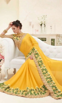 yellow & golden embroided sarees