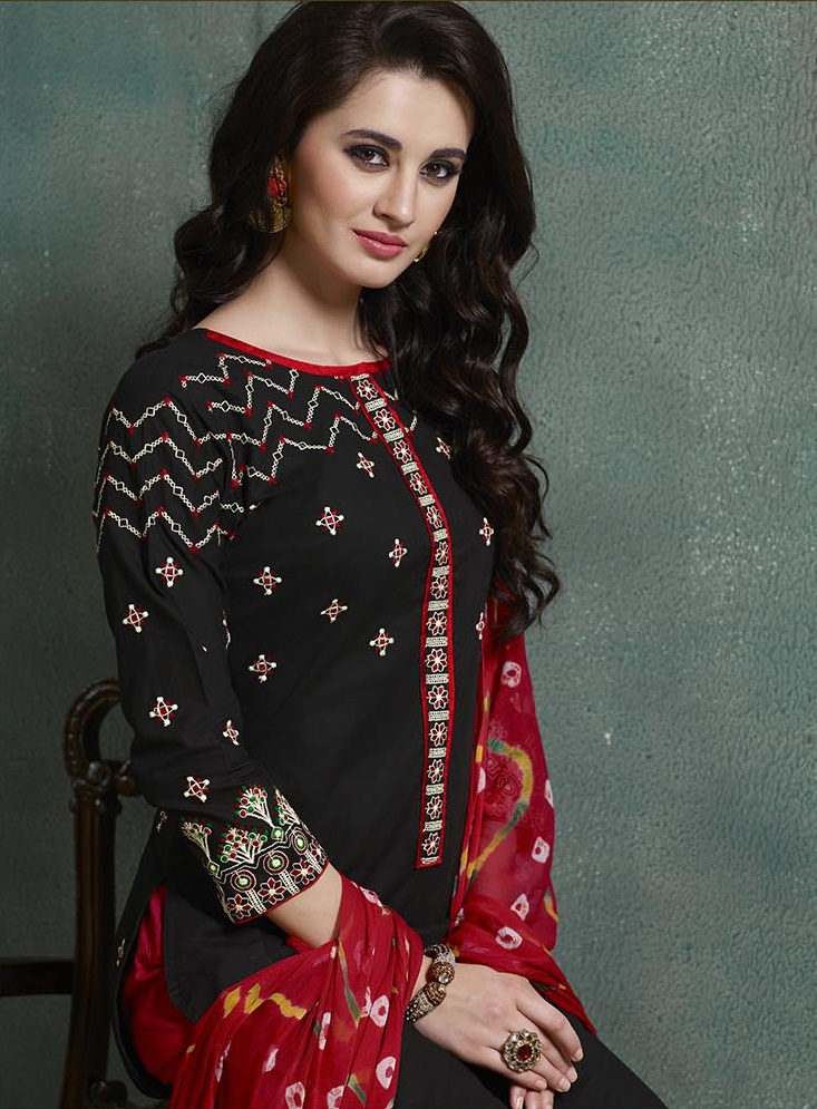 Buy Embroidered Red Black Cotton Salwar Suit With Jaipuri