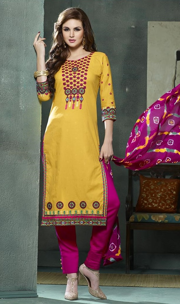e7fb5a8a84 Buy Embroidered Yellow Magenta Cotton Salwar Suit with Jaipuri Dupatta  Online in India at Lowest Prices | Price in India | buysnip.com