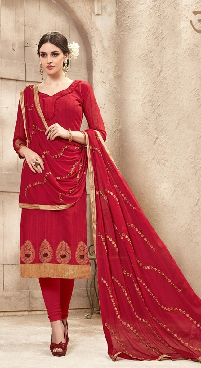 f3914faceb Buy Banarasi Red Party Wear Salwar Suit With Heavy Dupatta Online in ...