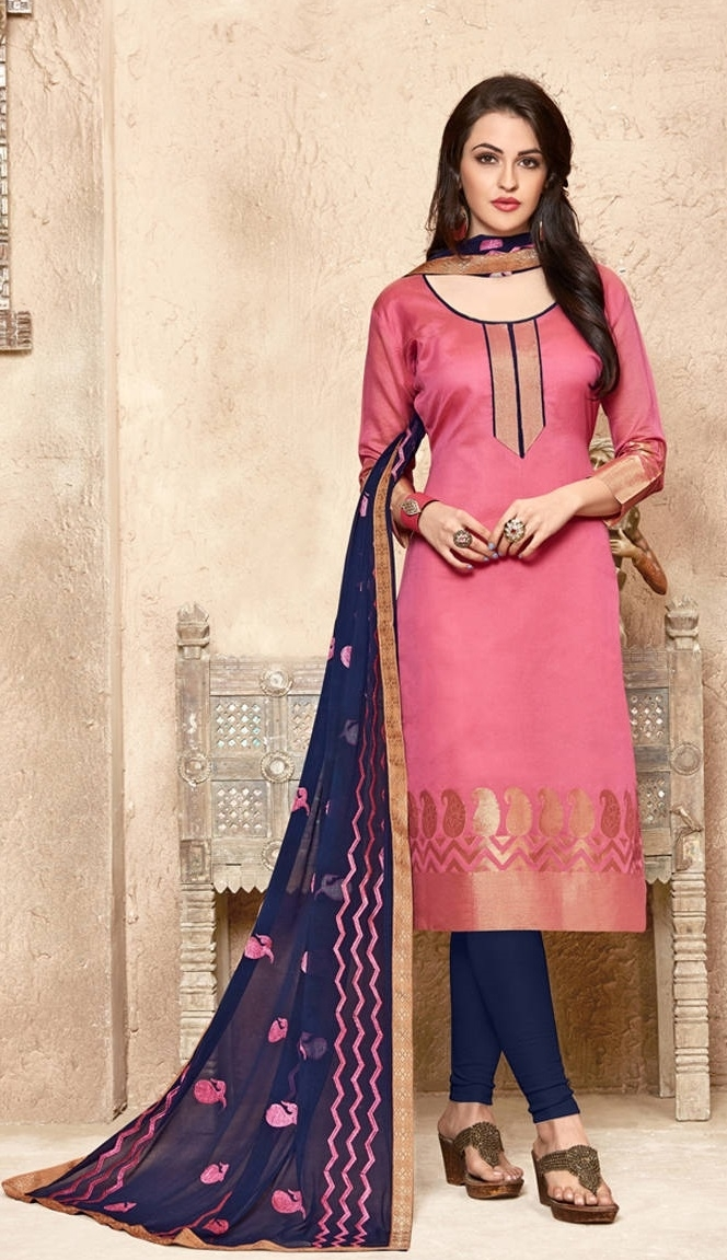 adc88a0c88 Buy Banarasi Pink & Blue Salwar Suit With Heavy Dupatta Online in India at  Lowest Prices | Price in India | buysnip.com