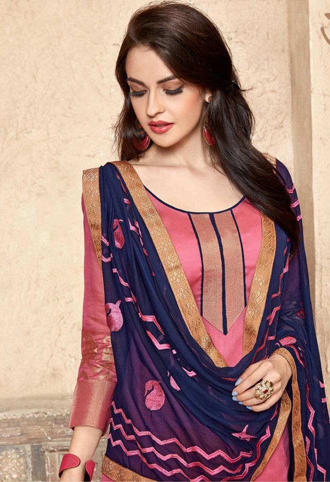 Buy Banarasi Pink Amp Blue Salwar Suit With Heavy Dupatta