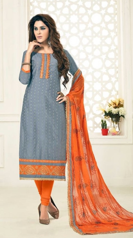 db89ac15e Buy Party Wear Grey Orange Salwar Suit With Heavy Dupatta Online in India  at Lowest Prices