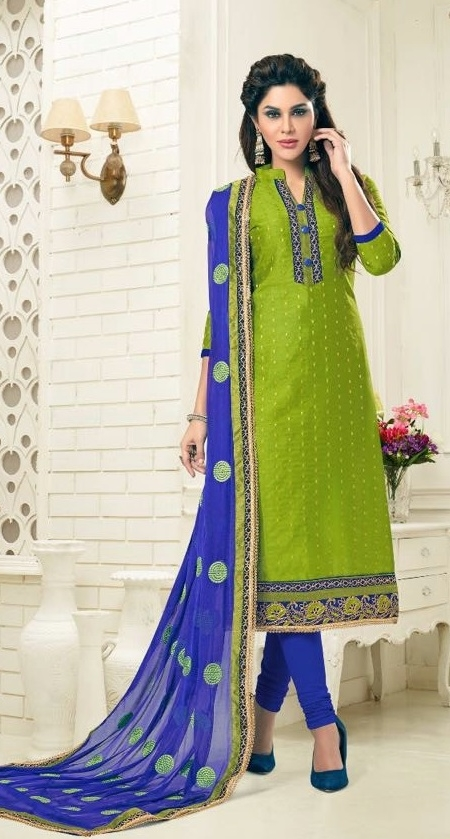 cfa7e1ee73 Buy Party Wear Green&Royal Blue Dress Material With Heavy Dupatta ...