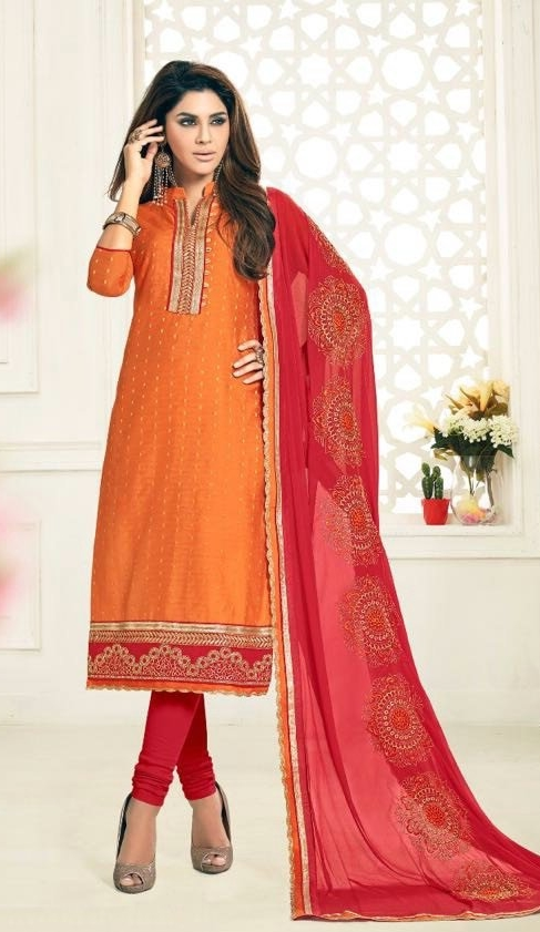 2ab4b9a49 Buy Party Wear Red Orange Salwar Suit With Heavy Dupatta Online in India at Lowest  Prices