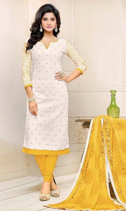 Buy White Amp Yellow Pure Cotton Embroidered Salwar Suit